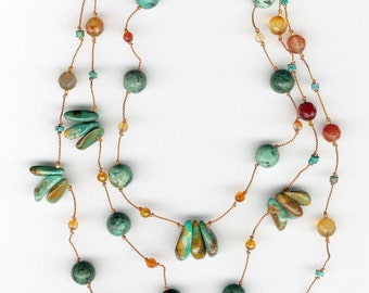 Carnelian and turquoise long necklace, knotted silk, opera length