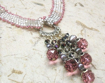Pink and gray woven ribbon necklace with pink crystals and silver grey pearls