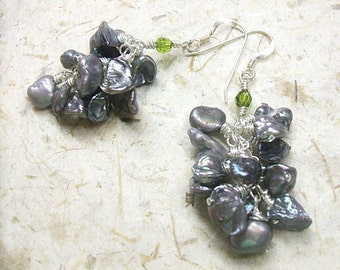 Gray pearl earrings with silver gray keshi pearls, green peridot crystals