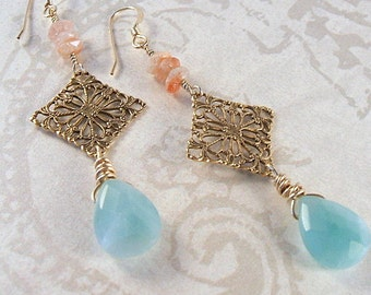 Amazonite and sunstone earrings with brass filigree