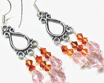 Orange and pink chandelier earrings with crystals and sterling silver