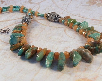 Turquoise tribal style necklace with red orange aventurine