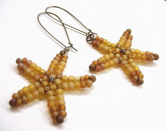 Starfish earrings - Woven beaded starfish jewelry