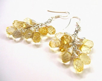 Citrine earrings, faceted citrine briolettes, wirewrapped