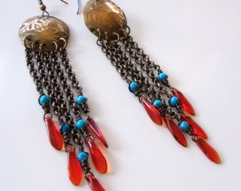 Long chain earrings - Turquoise earrings - Embossed metal earrings