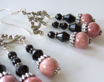 Dusky pink rhodonite and black onyx chandelier earrings