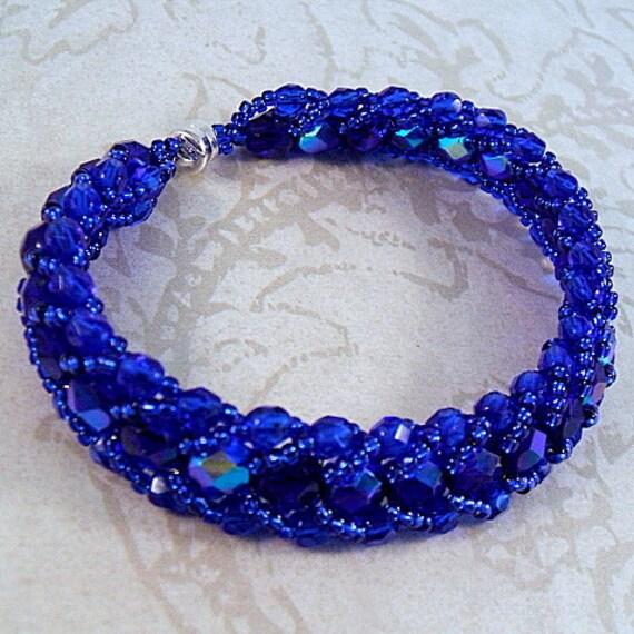 Cobalt blue crystal bracelet, flat spiral weave