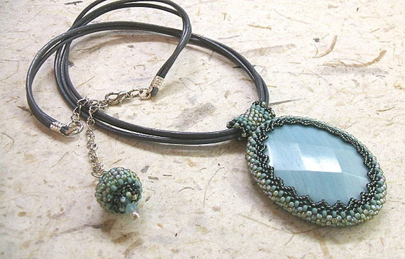Gray leather necklace with bead embroidered aqua blue amazonite cabochon