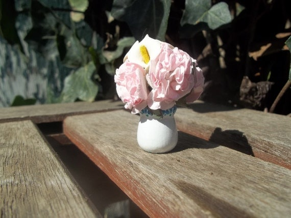 Scented Hydrangea & Lily Flower Vase 1/12 Scale Miniature