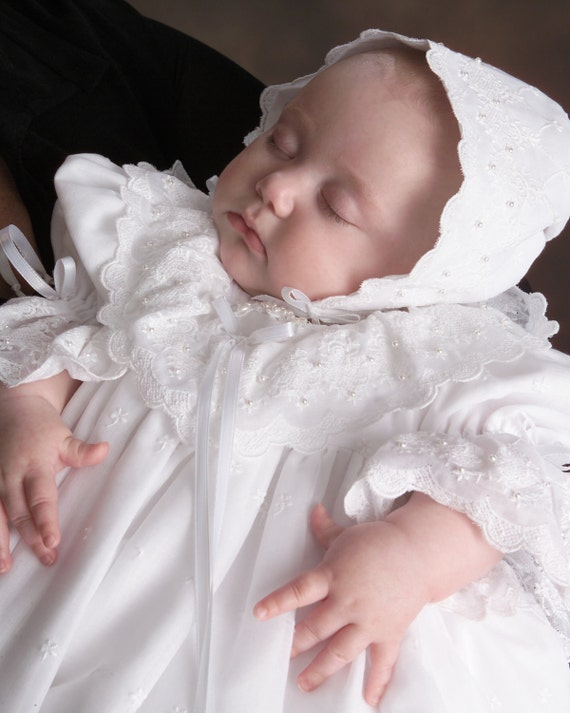 """Just Reduced - Embroidered Cotton Baptism / Christening Gown named """"Emma"""""""