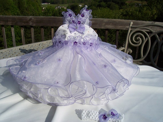 White and Lavender Organza Pageant Dress with Swarovski Rhinestones