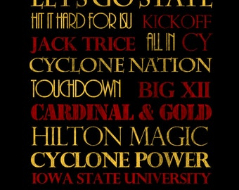 Iowa State Cyclones Print or Canvas housewarming gift for couple. Graduation Gift