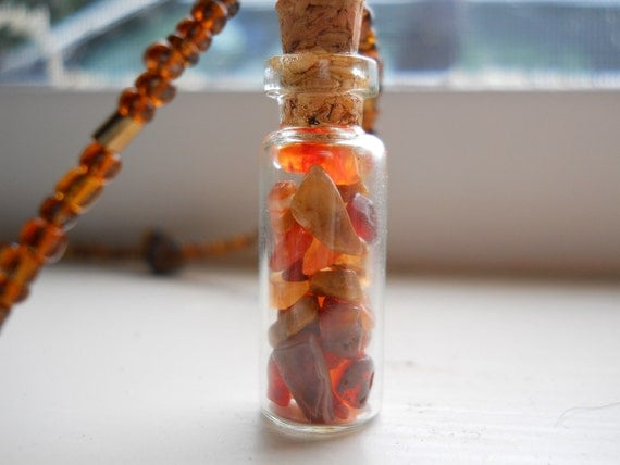 Fire Dancer Necklace -Stone, Beaded, Tiger's Eye, Crystal, Vial, Magick, Pagan, Witch