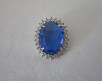 Vintage Oval Blue Stone with Rhinestones Pendant or Brooch