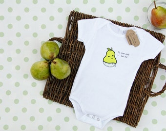 Small Bites Baby - Short Sleeve Baby Pear Onesie, Screen Printed On American Apparel, Made For Foodies