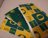 Handmade Baby Burp Cloth Set of 3 in University of Oregon print green and yellow