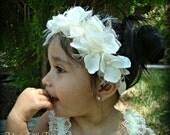 SALE-Ivory Hydrangea Halo headband - Weddings-Flower girls -  Especial accasions-Baby headband - Newborn baby headband - Photo prop