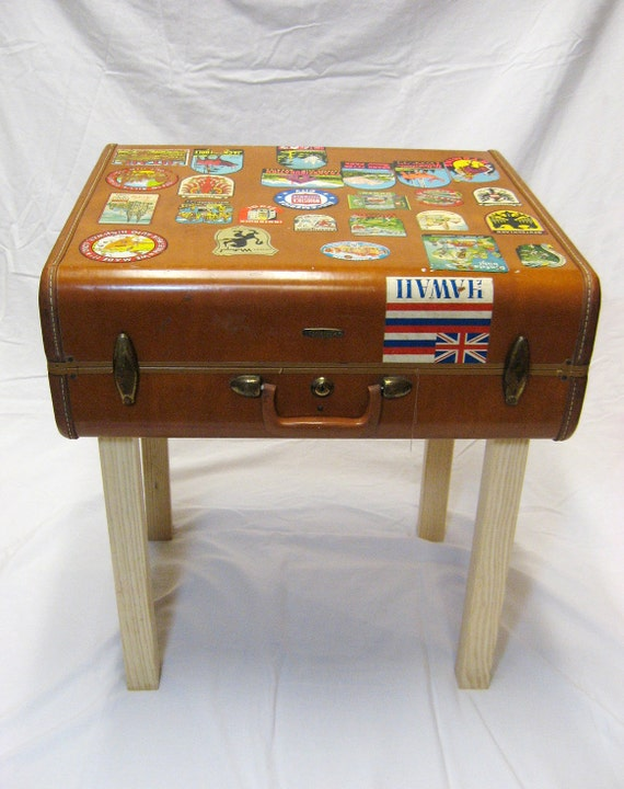 SUITCASE SIDE TABLE - vintage luggage with travel stickers, custom ...