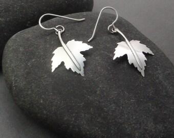 Maple Leaf Sterling Silver Earrings Ear-250