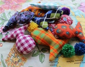 FREE SHIPPING Three Recycled Cat Toys filled with Organic Catnip
