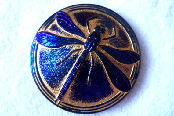 Czech  Glass  Button  1   Gorgeous   40.5mm     DRAGONFLY   gold wash   IVA 107