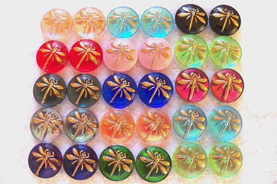 Czech  Glass  Cabachons (no shank)  30 pcs  18mm  DRAGONFLY  pairs  24K Gold   IVA 112