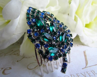 Emerald Green Hair Comb,Fall Wedding,Bridal Hair Comb,Bridal Hair Accessories,Wedding Hair Accessories, Hair,Rhinestone Hair Comb, Hair