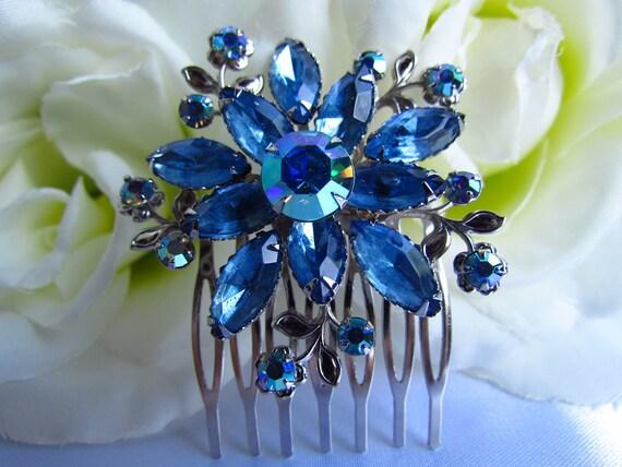 Bridal hair comb,sapphire blue, blue hair comb, bridal headpiece, bridal hair accessories,wedding hair comb, wedding hair accessories