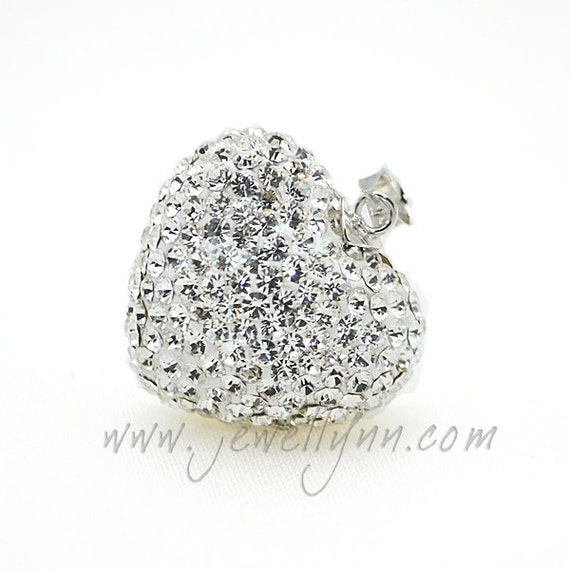 Heart Shaped Crystal Mexican Bola White Diamond 22mm.