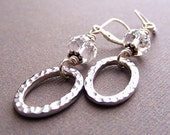 Hammered Oval and Swarovski Clear Crystal Earrings on Sterling Silver Leverbacks. Rhodium-Plated. Simple. Bridal.