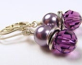 Amethyst Crystal and Mauve Swarovski Pearl Love Knot Earrings on Sterling Silver Leverbacks. Purple. Lavender. February Birthday.