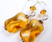 Topaz Czech Glass Earrings on French Hooks. Amber Gold Yellow Twisted Rectangles. Sunny.