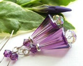 Swarovski Crystal Artemis Earrings in Amethyst Purple and Purple Haze on French Hooks. February Birthday.