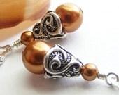 Copper Swarovski Pearl Teardrop Earrings on Sterling Silver Leverbacks. Classic. Swirl. Wedding. Bridal. Simple. Cone.