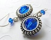 Capri Blue Swarovski Crystal Earrings with Round Frames on French Hooks. Ocean. Sea. Beach.