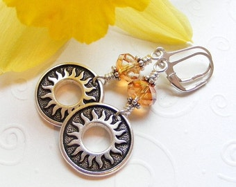 Sun and Swarovski Crystal Earrings in Chili Pepper on Sterling Silver Leverbacks. Southwest. Sol. Summer. Gift.