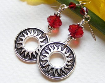 Sun and Swarovski Crystal Earrings in Siam Red on French Hooks. Southwest. Sol. Summer. Gift.