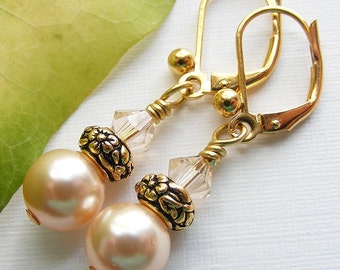Peach Swarovski Pearl and Crystal Earrings on Leverbacks. TierraCast. Classic. Elegant. Antique Gold.