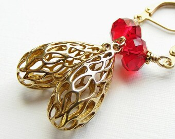 Brass Cutout Teardrops and Red Swarovski Crystal Earrings on Brass Leverbacks. Siam Rondelle. Vintage Style.