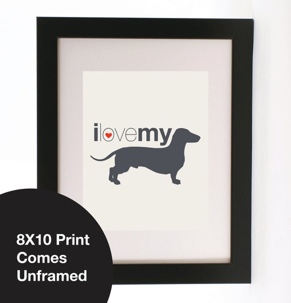 """Vintage Retro I love my Dog Quote Love heart Wall art Print 8X10"""" Gorgeous Gift"""