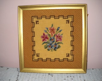 Floral Needlepoint in Gold Frame Pink  - WA19