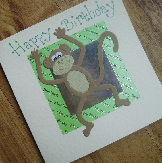 Monkey Birthday card. personalised to your requirements