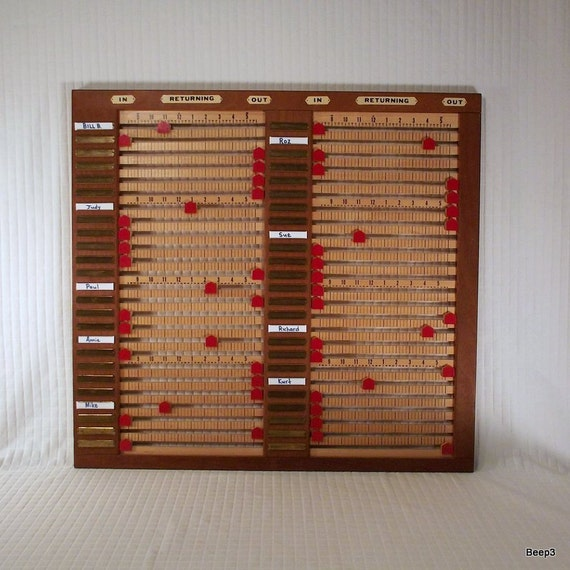 Vintage In and Out Register Office Board