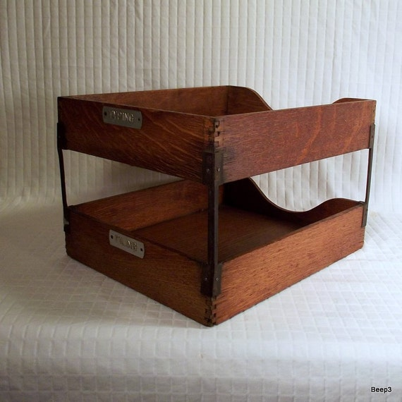 Antique Shaw Walker Two Tier Desktop Letter Basket In Out Tray Sorter