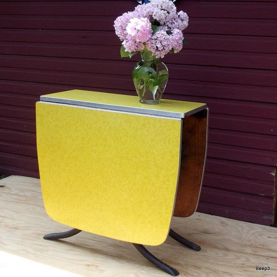 Vintage Yellow Formica Drop Leaf Gate Leg Kitchen Table