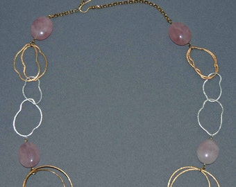 Gold & Silver Abstract Necklace w/Rose Quartz