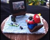 Mario playing Xbox Call of Duty - Nintendo Super Mario Brothers Diorama
