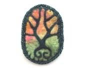 Felt brooch, green tree, forest scene, orange and pink sky, tree pin - Symmetree
