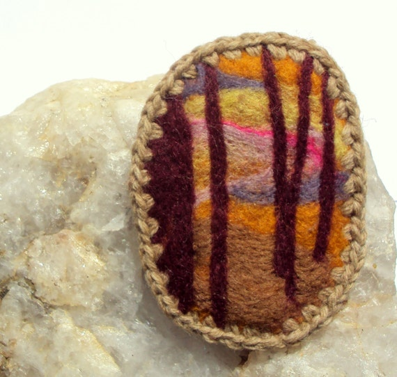 Felt brooch, sunset woodland scene, warm colours, orange forest pin
