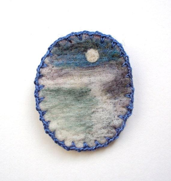 Felt brooch, needle felted blue misty horizon, felted wool seascape brooch